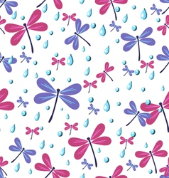 Seamless pattern dragonflies vector
