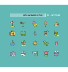 Set of thin lines icons holidays and leisure vector