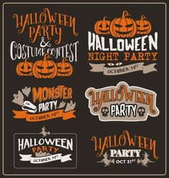 Set of halloween typographic design vector