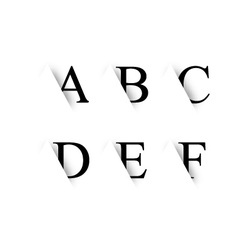 Black alphabet letters with shadow vector