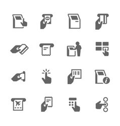 Simple kiosk terminal icons vector