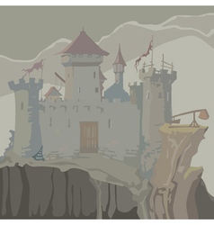 Cartoon gray medieval fortress towers on a rock vector