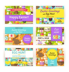 Happy easter template invitation modern flat set vector