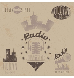 Vintage grunge labels of urban radio with vector