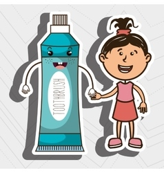 Girl with toothpaste isolated icon design vector