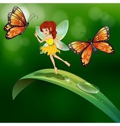 A fairy standing in a leaf with butterflies vector image vector image