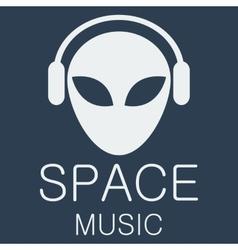 alien in headphones on blue background vector image