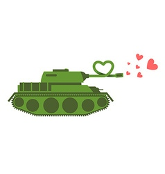 Army Tank love Green shoots military machine vector image