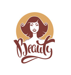 Beauty lettering composition and retro pinup girl vector