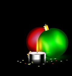 Candle and two christmas ball vector