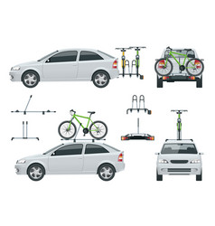 Car is transporting bicycles on the roof and bikes vector