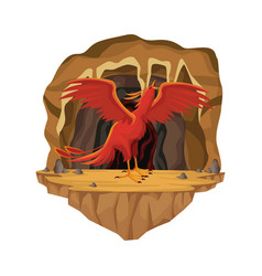 cave interior scene with phoenix greek vector image vector image