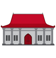 Chinese building with red roof vector