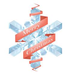christmas snowflake with ribbon vector image vector image