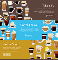 coffee shop horizontal banner templates vector image
