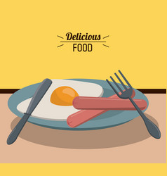 Delicious food fried egg sausage and fork knife vector