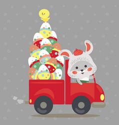 Easter bunny drive car with truck decorated eggs vector