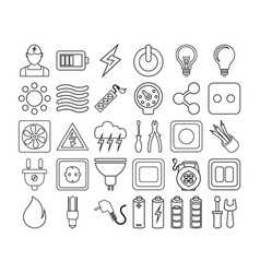 electric icon set vector image