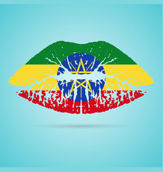 ethiopia flag lipstick on the lips isolated on a vector image