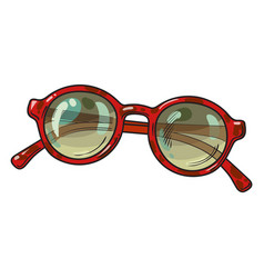 Fashionable round sunglasses in red plastic frame vector