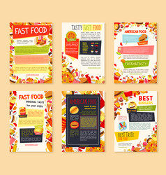 fast food meal and drink banner template set vector image