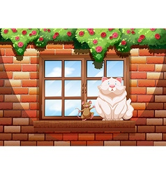 Fat cat and little mouse vector image