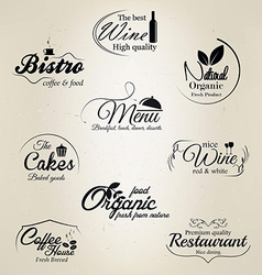 food and drink labels vector image vector image