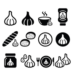 Garlic food icons set - garlic sauce soup bread vector image