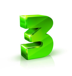 Glossy green three 3 number 3d on vector