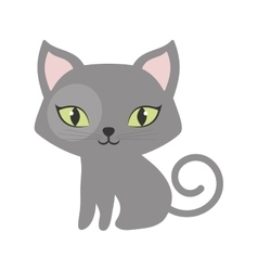 gray small cat sitting green eyes tail spiral vector image vector image