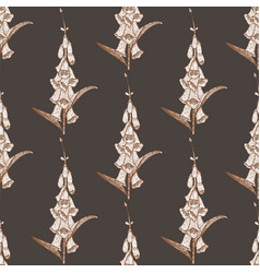 hand drawn graphic seamless foxglove pattern vector image vector image
