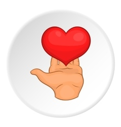 Heart on hand icon flat style vector image