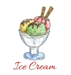 Ice cream scoops dessert in glass vector