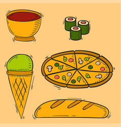 Icons sweet fast food hand drawn restaurant vector