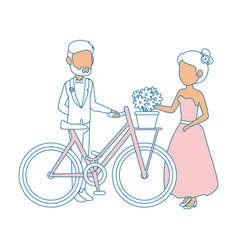 Isolted newlywed couple bicycle vector