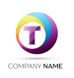 letter t logo symbol in the colorful circle on vector image vector image