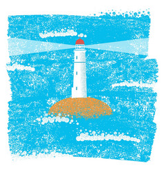 lighthouse with blue sea grunge background vector image vector image