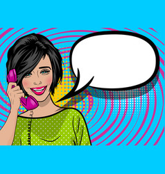 Pop art cartoon woman hold hand retro phone talk vector