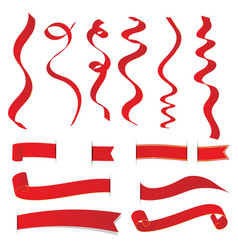 set of red christmas ribbons elements vector image vector image