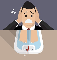Stressed overweight man on weight scale vector image