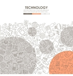 Technology doodle website template design vector
