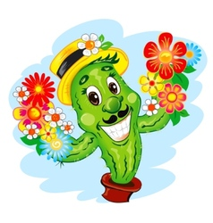 The cartoon cactus vector