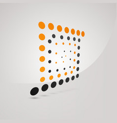 unusual logo of square with orange and dark gray vector image vector image
