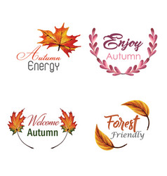 Watercolor autumn logo collection with yellow vector