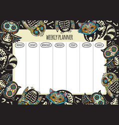 weekly planner with tattoo design vector image