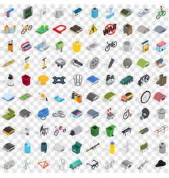 100 iron icons set isometric 3d style vector image