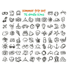 Doodle summer trip icons set vector
