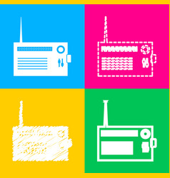 Radio sign  four styles of icon on vector