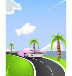 Summer convertible drive vector