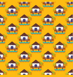 Summer seamless pattern with bungalow vector